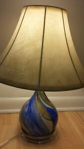 Modern Table Lamp Blown Art Glass W Lucite Base Blue Brown Tan