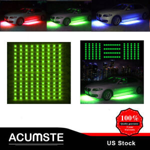 4pcs Green Led Strip Under Car Underglow Underbody Neon Light Kit For Ford Jeep
