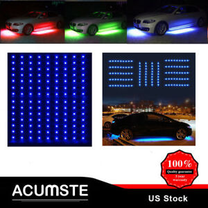 4x Bright Blue Led Strip Under Car Underglow Underbody Neon Light Kit For Ford
