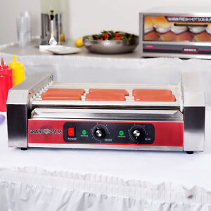 24 Hot Dog Stainless Steel Concession Stand Electric Roller Grill With 5 Rollers