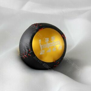 6 Speed Jdm Mugen Gold Leather Shift Knob For Honda Crz Type R Civic Fa5 Fg2 Si