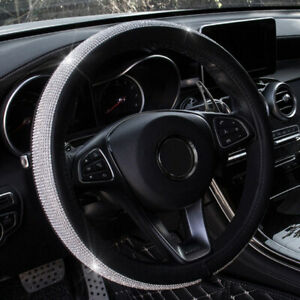 Car Truck Steering Wheel Cover For Bmw Audi Bling Crystal Rhinestone Leather