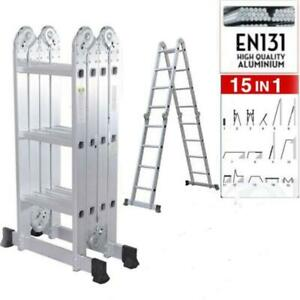 12 5ft Multi Purpose Aluminum Folding Step Ladder Scaffold Extendable Fold Step
