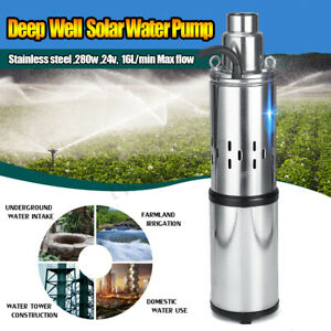 60m 280w 24v Stainless Steel Solar Submersible Water Deep Well Pump Power