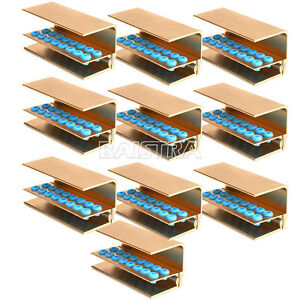 10x Dental Handpiece Bur Block Holder Autoclave Disinfection Box Golden 16 h