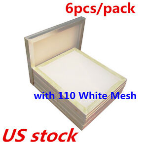 Us 6pcs 20 X 24 Aluminum Silk Screen Printing Frame With 110 White Mesh Count