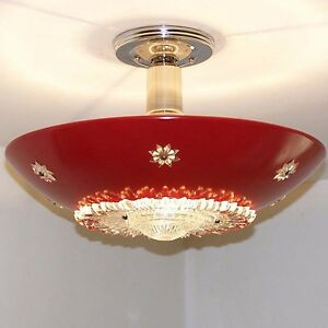893 Vintage 60s Ceiling Light Fixture Midcentury Retro Eames Chandelier 1 Of 2