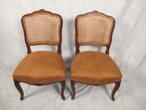 Antique Pair Of French Louis Xv Style Caned Chairs 11276
