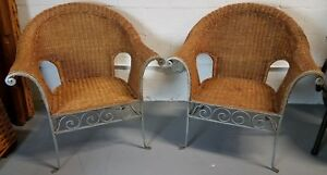 Pair Of Vintage Wrought Iron Wicker And Rattan Roll Arm Armchairs