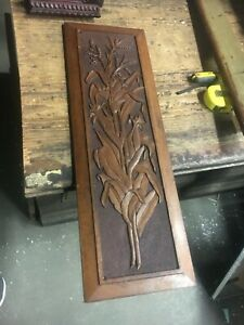 Gorgeous Chip Carved Floral Furniture Panel Mahogany Pretty Detail 28 5 X 9 5