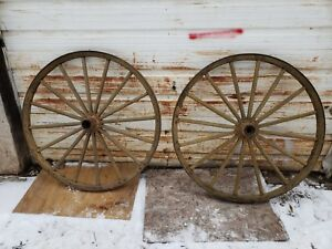 Antique 45 Wagon Wheel Set Large Nice Shape Goat Cart Old Yellow Muster Paint