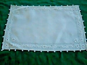 Off White Linen Placemat With Fabulous Open Work Hand Embroidery Circa1920