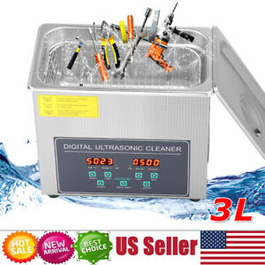 3l Digital Industry Ultrasonic Cleaner Heater Timer Stainless Jewel Clean Tank S