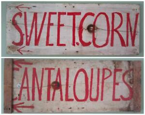 Antique 1930s Sweet Corn Cantaloupe Trade Sign Aafa Wooden Interior Design