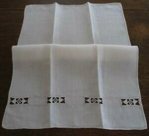 Lot Of 3 Vintage Italian Linen Guest Hand Towels Needle Lace Drawnthread Set