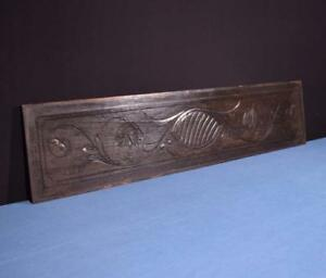 44 French Antique Hand Carved Architectural Panel Solid Oak Wood Trim