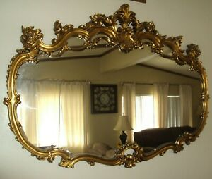 Vintage Large Ornate French Victorian Style Gold Wall Mirror