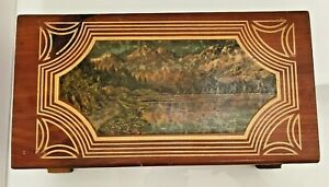 Vintage 1950s Carved Cedar Chest Wood Jewelry Box Hinged Top Mountain Scene