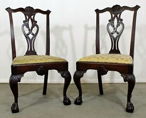 Pair Of Chippendale Ball Claw Mahogany Side Dining Chairs