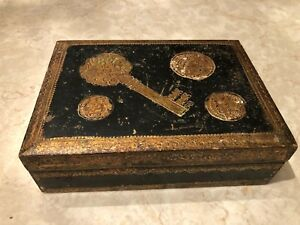 Exquisite Vintage Italian Florentine Key Box Black Gold Coins Wooden Gilded