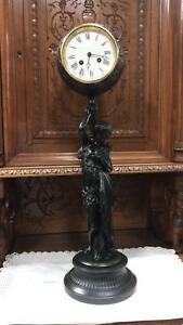 Beautiful Large French Statue With Clock 1870 1880 Stamped Elot