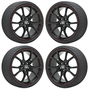 Set 4 20 Honda Civic R Black Red Lip Wheels Rims Tires Factory Oem Genuine
