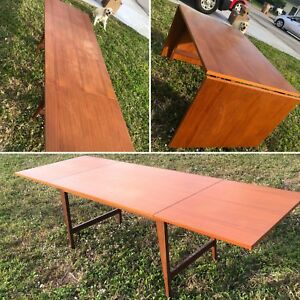 Vintage Mid Century Modern Teak Drop Leaf Dining Table Danish Retro Desk Mod