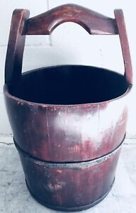 Vintage Stave Wood And Banded Iron Water Well Bucket Pail Large 5 Gallon