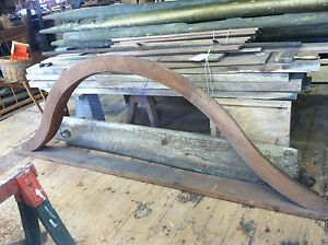 Large Antique Vtg Hand Made Curved Wood Barn Window Frame Architectural Salvage