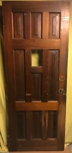 Antique 9 Panel Exterior Stained Wood French Entry Door W Clear Glass 32x80