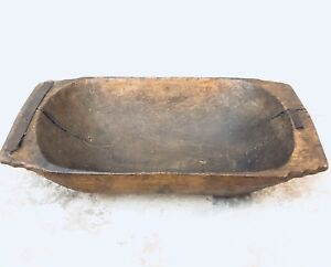 Antique French Country 1 Log Carved Wooden Rustic Trencher Dough Bowl C 1850 S