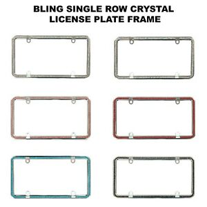 Single Row Diamond Bling Crystal Rhinestone License Plate Frame Car Slim Thin