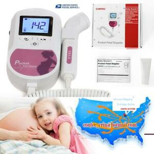Usa Fda Baby Heart Beat Monitor 3mhz Probe Fetal Dopler baby Sound gel battery