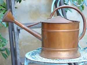 Charming Small Antique French Copper Watering Can Rustic Garden