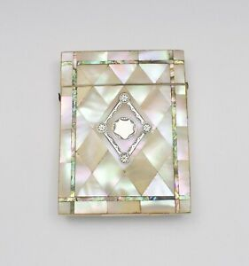Victorian Mother Of Pearl Abalone Silver Card Case