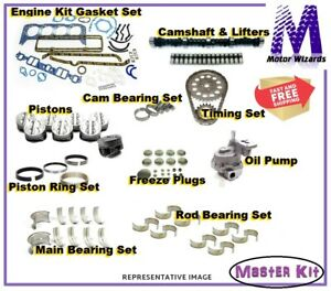 Master Engine Rebuild Kit 350 5 7 Chevy Cam Lifters Pistons Gaskets Brg 1967 79