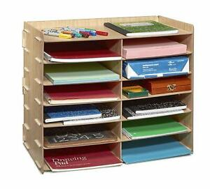 Adiroffice Wood Home Office Paper Storage 12 Shelf File Desk Stand Organizer