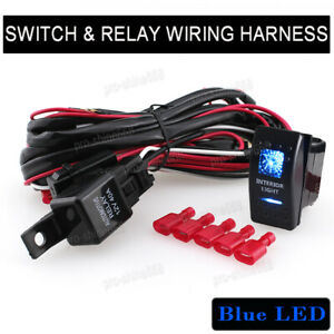 Auto Interior Lights Switch Backlit Car Bar Offroad Relay Wiring Harness Kit