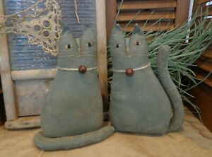 Pair Of Primitive Gray Cats Cupboard Tucks Doll Basket Fillers