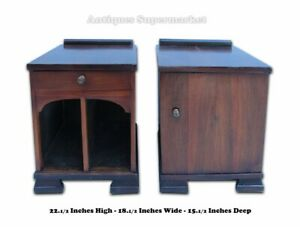 Art Deco Style Pair Of Walnut Wood Night Stands 9265