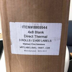 New 4x8 Blank Direct Thermal 3 Rolls 2 400 Labels