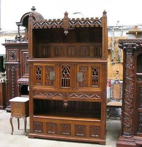 Large Antique French Gothic Carved Oak Cabinet