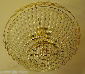 1950s 1960s Designer Hanging Lamp Lead Glass Chandelier Ceiling 50s 60s