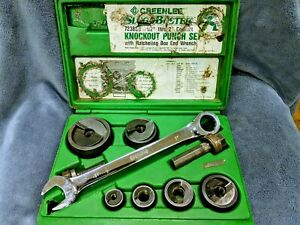 Greenlee Slug Buster Knockout Punch Set W Box End Wrench 7238sb 1 2 2 Used