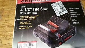 Drillmaster 4 1 2 Tile Saw Wet Tray 120 Volt Model 69230 Box Damaged Saw New