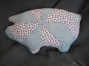 Primitive Pig Doll Quilted Vintage Quilt Blue Pink White 22