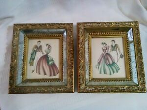 2 Vntg Decorative Ornate Gold Framed Mirrored Victorian Romance Courting Prints
