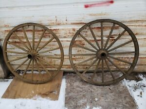 40 Wagon 2 Wheels Set Carriage Antique M Band Old Muster Yellow Barn Unique