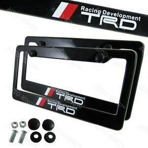 X2 Trd Car Abs License Plate Frame With Caps For Toyota Frs Supra Mr2 Tc Gt New