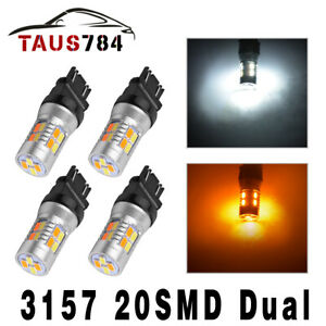 4x 3157 3156 Dual Color Amber White Switchback Turn Signal Parking Lights 20smd
